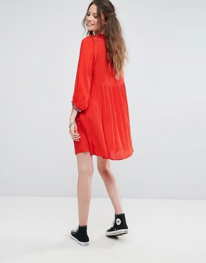 photo Smock Dress with Mirror Embroidery and Pom Pom Trim by Glamorous Tall, color Red - Image 2