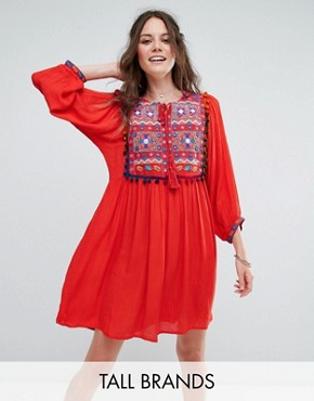 photo Smock Dress with Mirror Embroidery and Pom Pom Trim by Glamorous Tall, color Red - Image 1