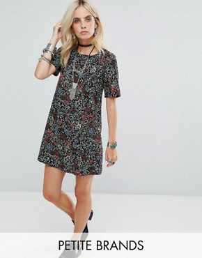 photo Tea Dress in Grunge Floral by Glamorous Petite, color Black - Image 1