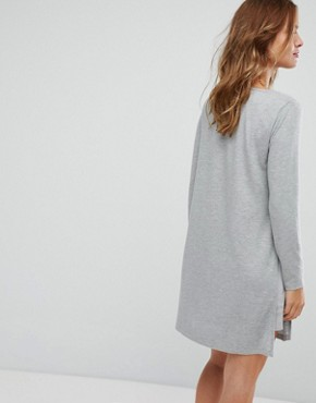 photo Diffon Mixed Media Tunic Dress by Supertrash, color Light Grey Melange - Image 2