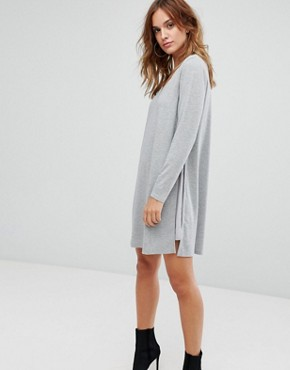 photo Diffon Mixed Media Tunic Dress by Supertrash, color Light Grey Melange - Image 1