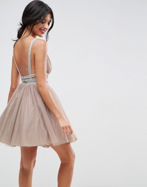 photo Tulle Strappy Embellished Mini Skater Dress by ASOS, color Mink - Image 2