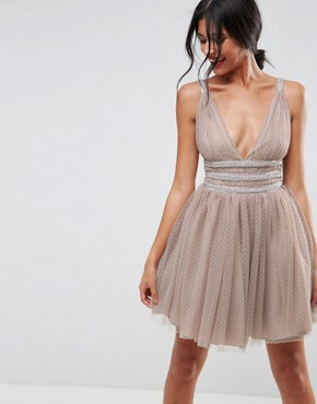 photo Tulle Strappy Embellished Mini Skater Dress by ASOS, color Mink - Image 1