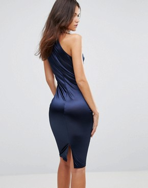 photo Satin Pencil Midi Dress with Cut Out Neck Detail by AX Paris, color Navy - Image 2