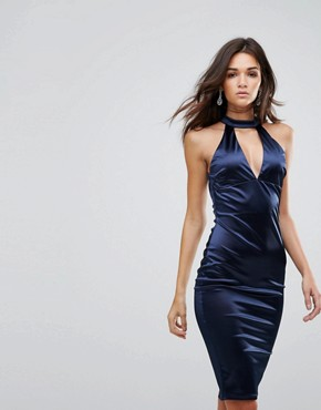 photo Satin Pencil Midi Dress with Cut Out Neck Detail by AX Paris, color Navy - Image 1