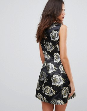 photo Skater Brocade Dress by AX Paris, color Gold/Black - Image 2