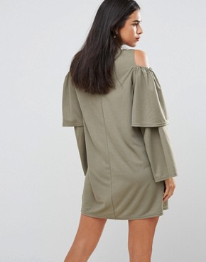 photo Cold Shoulder Frill Sleeve Shift Dress by AX Paris, color Khaki - Image 2
