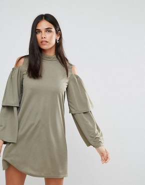 photo Cold Shoulder Frill Sleeve Shift Dress by AX Paris, color Khaki - Image 1