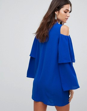 photo Cold Shoulder Frill Sleeve Shift Dress by AX Paris, color Cobalt Blue - Image 2