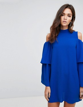photo Cold Shoulder Frill Sleeve Shift Dress by AX Paris, color Cobalt Blue - Image 1