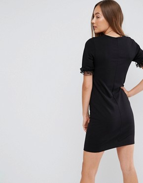 photo T-Shirt Dress in Ponte with Lace Frill Sleeve by ASOS TALL, color Black - Image 2