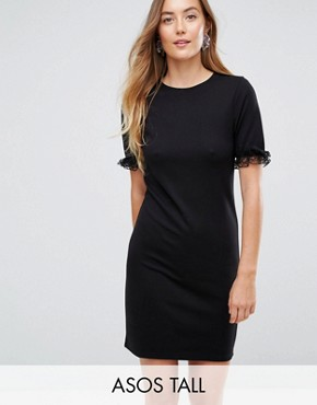 photo T-Shirt Dress in Ponte with Lace Frill Sleeve by ASOS TALL, color Black - Image 1