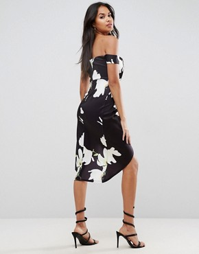 photo Scuba Wrap Front Floral Bardot Midi Dress by ASOS, color Multi - Image 2