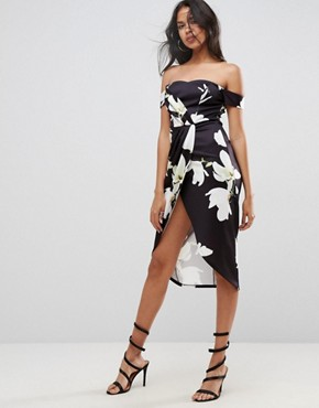 photo Scuba Wrap Front Floral Bardot Midi Dress by ASOS, color Multi - Image 1