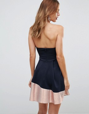 photo Bandeau Ombre Sparkle Mini Skater Dress by ASOS, color Navy/Rose Gold - Image 2