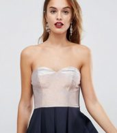 photo Bandeau Ombre Sparkle Mini Skater Dress by ASOS, color Navy/Rose Gold - Image 3