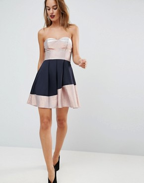 photo Bandeau Ombre Sparkle Mini Skater Dress by ASOS, color Navy/Rose Gold - Image 4