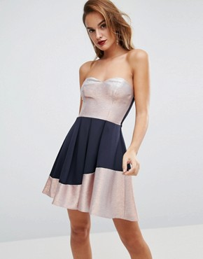 photo Bandeau Ombre Sparkle Mini Skater Dress by ASOS, color Navy/Rose Gold - Image 1