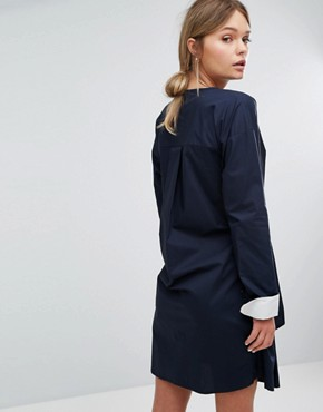 photo Tie Front Dress by Warehouse, color Navy - Image 2