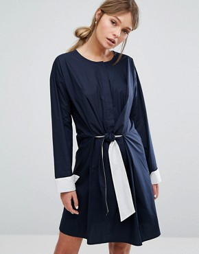 photo Tie Front Dress by Warehouse, color Navy - Image 1