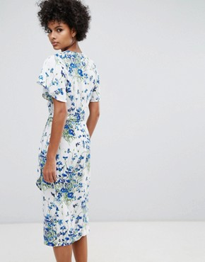 photo Full Bloom Wrap Dress by Warehouse, color Multi - Image 2