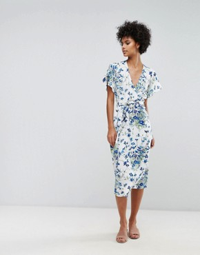 photo Full Bloom Wrap Dress by Warehouse, color Multi - Image 1