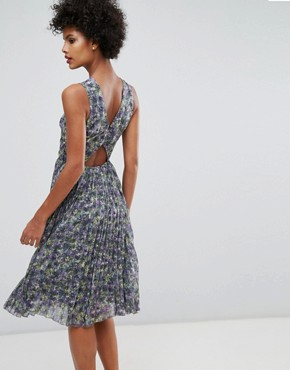 photo Printed Pleated Midi Dress by Warehouse, color Multi - Image 2
