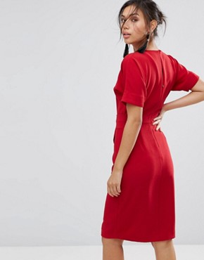 photo D-Ring Pencil Dress by Warehouse, color Red - Image 2