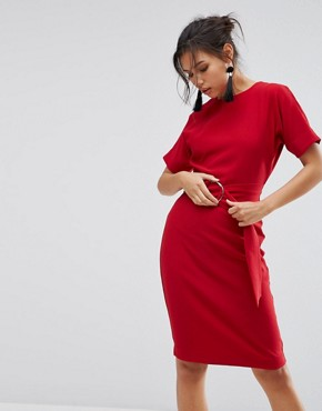 photo D-Ring Pencil Dress by Warehouse, color Red - Image 1