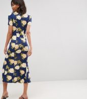 photo City Maxi Tea Dress with V-Neck and Button Detail in Blue Floral Print by ASOS, color Blue Floral - Image 2