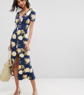photo City Maxi Tea Dress with V-Neck and Button Detail in Blue Floral Print by ASOS, color Blue Floral - Image 1