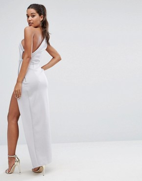 photo One Shoulder Maxi Dress with Exposed Zip by ASOS, color Grey - Image 2