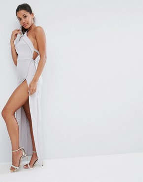 photo One Shoulder Maxi Dress with Exposed Zip by ASOS, color Grey - Image 1