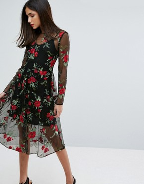 photo Floral Embroidered Lace Dress by Warehouse Premium, color Red - Image 1