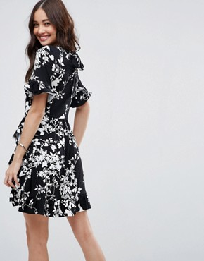 photo Mini Tea Dress with Frill Wrap in Mono Print by ASOS, color Mono Floral - Image 2
