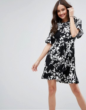 photo Mini Tea Dress with Frill Wrap in Mono Print by ASOS, color Mono Floral - Image 1