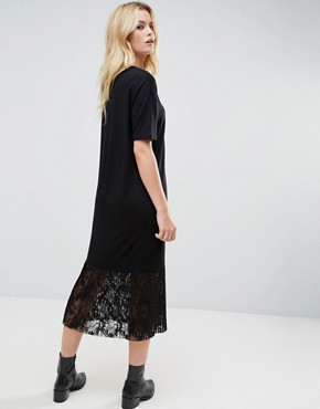 photo Midi T-Shirt Dress with Pleated Lace Hem by ASOS, color Black - Image 2