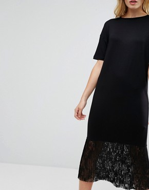 photo Midi T-Shirt Dress with Pleated Lace Hem by ASOS, color Black - Image 3