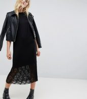 photo Midi T-Shirt Dress with Pleated Lace Hem by ASOS, color Black - Image 4