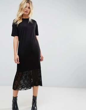 photo Midi T-Shirt Dress with Pleated Lace Hem by ASOS, color Black - Image 1