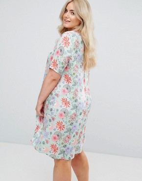 photo Shift Dress in Bright Floral by Alice & You, color Green/Pink - Image 2