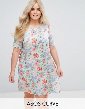 photo Shift Dress in Bright Floral by Alice & You, color Green/Pink - Image 1