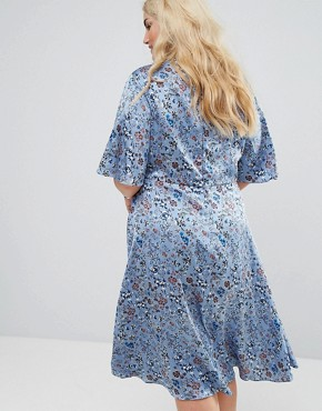 photo MIDi Dress with High Neck in Vintage Floral by Alice & You, color Dusty Blue Floral - Image 2