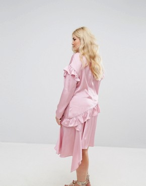 photo Long Sleeve Shift Dress with Ruffle Layers by Alice & You, color Light Pink - Image 2