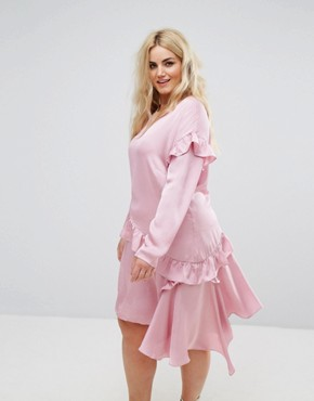 photo Long Sleeve Shift Dress with Ruffle Layers by Alice & You, color Light Pink - Image 1