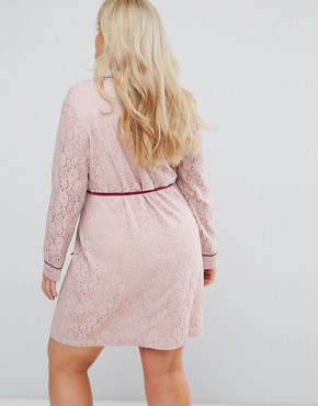 photo Wrap Front Long Sleeve Dress in Lace by Alice & You, color Light Pink - Image 2