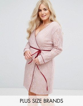 photo Wrap Front Long Sleeve Dress in Lace by Alice & You, color Light Pink - Image 1