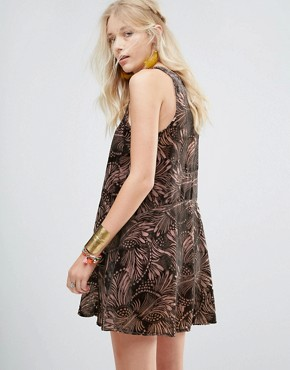 photo Ellie Burnout Printed Mini Dress by Free People, color Pink Combo - Image 2
