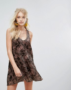 photo Ellie Burnout Printed Mini Dress by Free People, color Pink Combo - Image 1