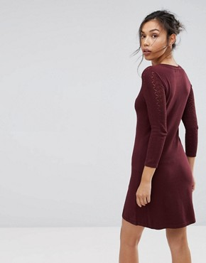 photo Stitch Yoke Skater Knitted Dress by Warehouse, color Berry - Image 2